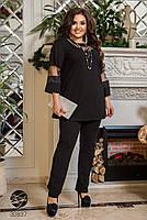 Котюм двійка з блузи з рукавами три чверті вставками з сітки і прямих брюк з 50 по 64 розмір, фото 5
