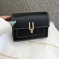Женская сумочка кросс-боди черная на цепочке