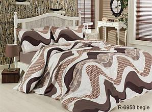 Двуспальный комплект постельного белья Ранфорс R6958 begie