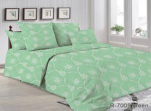 Двоспальний Євро комплект постільної білизни Ранфорс R7005 green