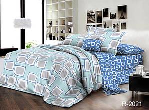 Двуспальный Евро комплект постельного белья Ранфорс  с компаньоном R2021