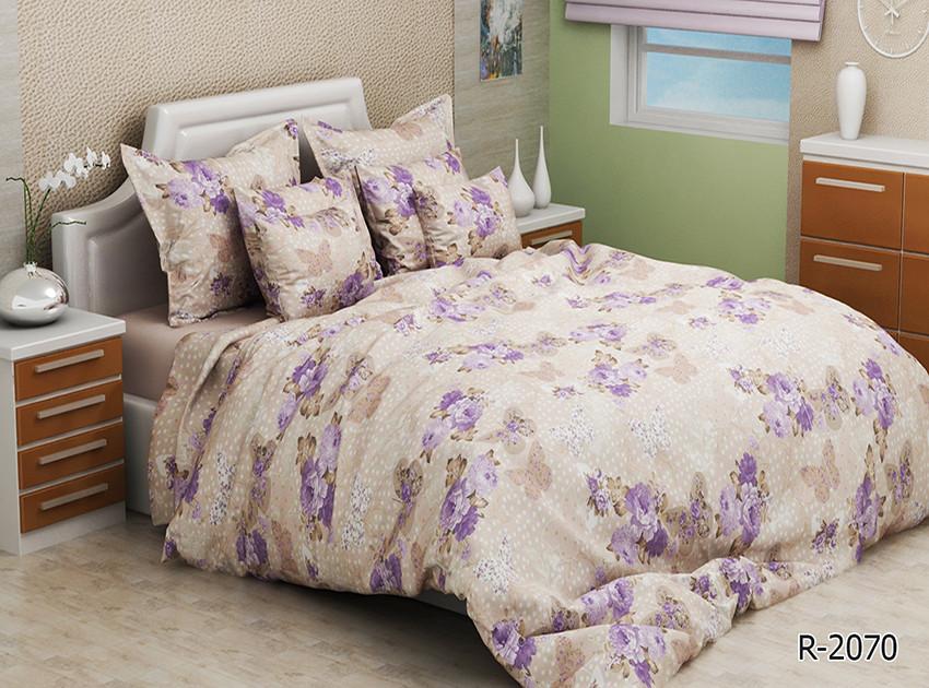 Двуспальный Евро комплект постельного белья Ранфорс  R2070