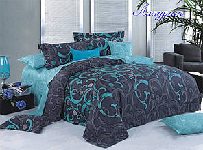 Двуспальный Евро комплект постельного белья Ранфорс с компаньоном Лазурит