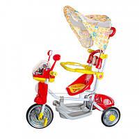 Дитячий триколісний велосипед з батьківською ручкою і музичною іграшкою на кермі