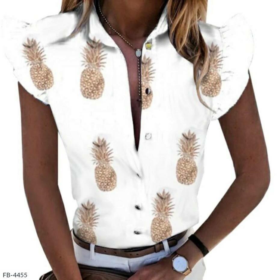 Женская блуза рукава-крылья с ананасами