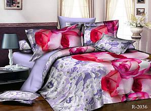 Двуспальный Евро комплект постельного белья Ранфорс  R2036