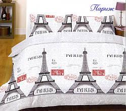 Двоспальний Євро комплект постільної білизни Ранфорс Париж