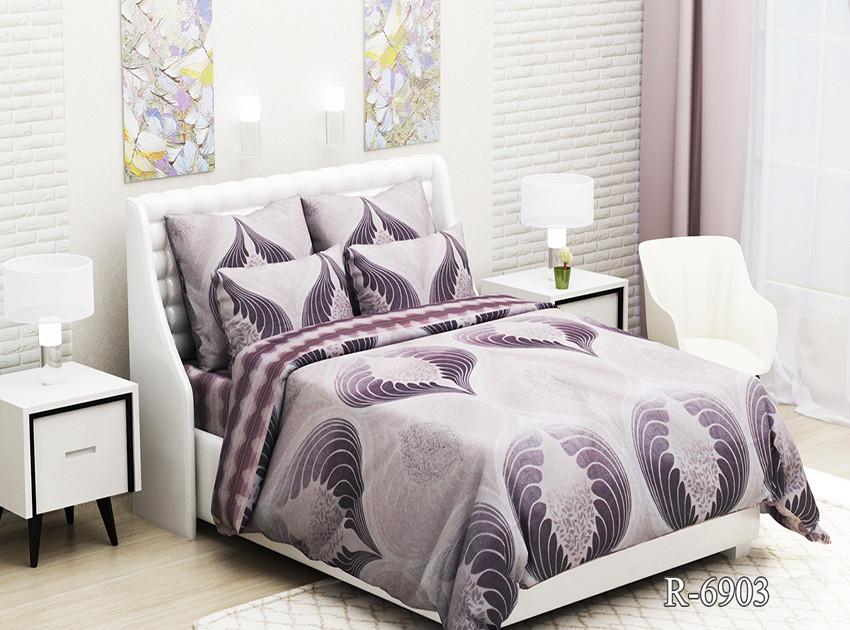 Полуторный комплект постельного белья Ранфорс с компаньоном R6903