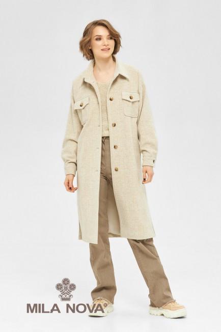 Демисезонное женское пальто-рубашка на подкладке