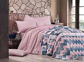 Двуспальный Евро комплект постельного белья Ранфорс  с компаньоном R7402