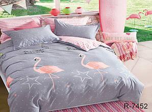 Двуспальный Евро комплект постельного белья Ранфорс  с компаньоном R7452