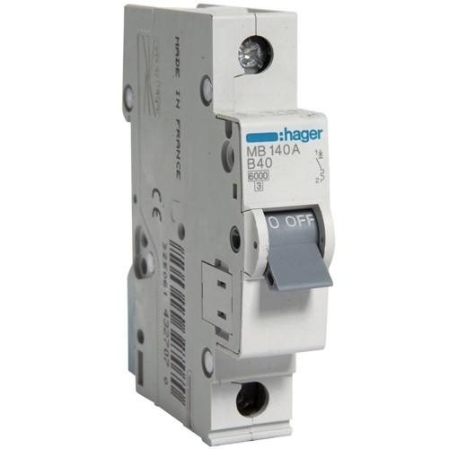 Автоматичний вимикач Hager MB140A. Ін=40А, хар-ка B