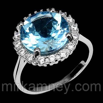 Кольцо натуральный природный Голубой Топаз (SKY BLU). Размер кольца 18. Серебро 925 в белом золоте 14 карат