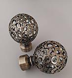 Карниз для штор металевий САВОНА подвійний 25+19 мм 3.2м Античне золото, фото 2