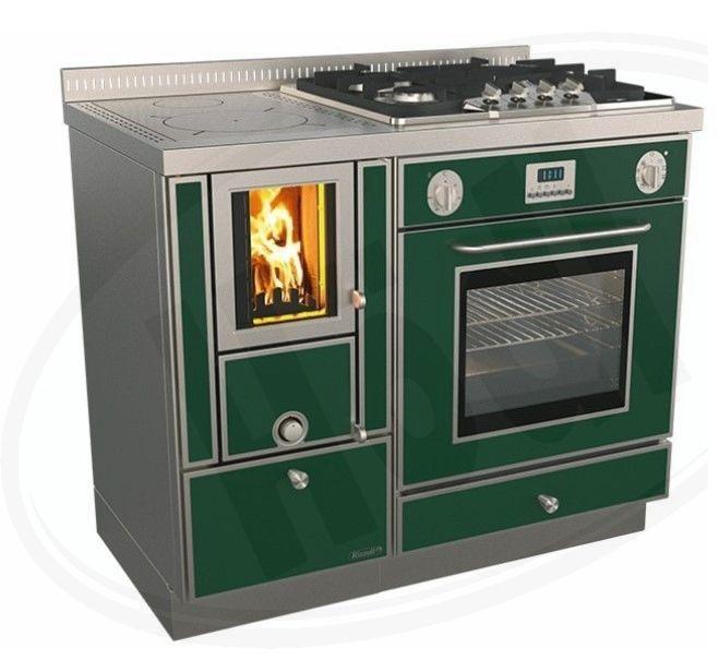 Варильна піч камін на дровах Rizzoli RVE 100 combi (плюс газ і електрика)