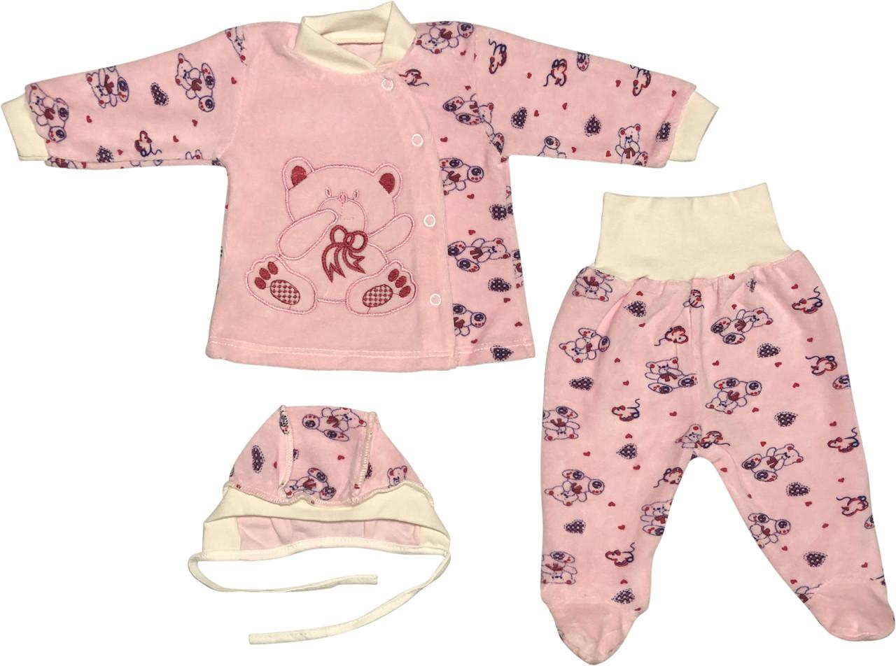Костюм на дівчинку ріст 56 0-2 міс для новонароджених малюків комплект дитячий велюровий рожевий