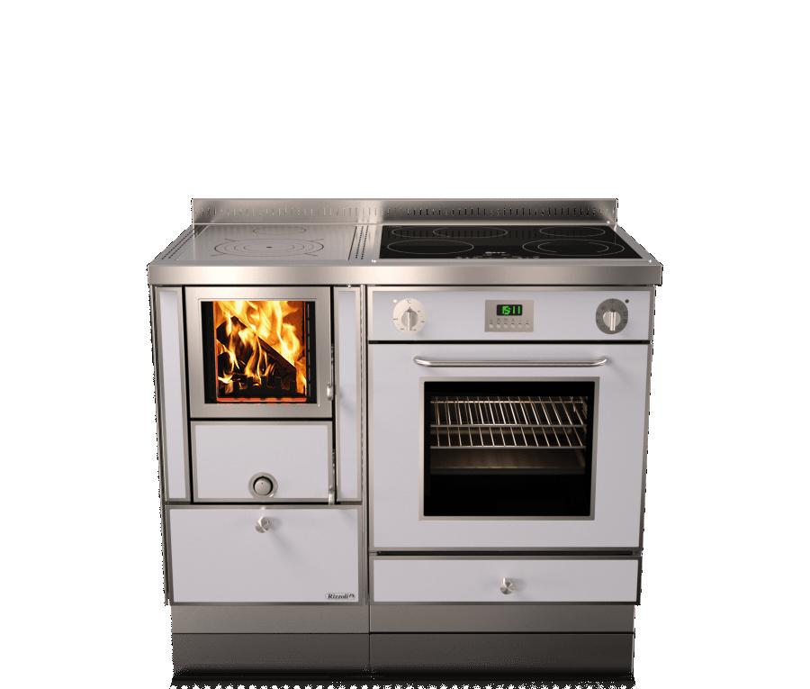 Отопительно варочная печь с духовкой на дровах Rizzoli RVE 105 combi (плюс газ и электричество)