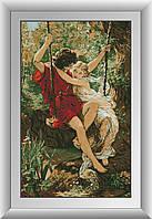 Алмазна мозаїка Закохані на гойдалках Dream Art 30264 57х92см 22 квітів, квадр.стрази, повна зашивання. Набір, фото 1