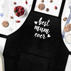 """Фартух з написом """"Best mum ever"""" (Найкраща мама)  кухонний фартух для мами на подарунок"""