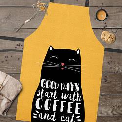 Фартук полноцветный Сolorful Good days start with coffee and cat | универсальный кухонный фартук с принтом
