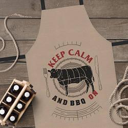 Фартук полноцветный Сolorful Keep calm and BBQ on (коричневый) | кухонный фартук с принтом для мужчины