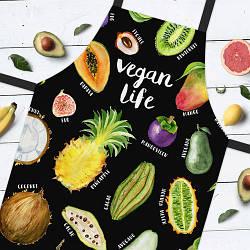 Фартук полноцветный Сolorful Vegan life | универсальный кухонный фартук с оригинальным принтом