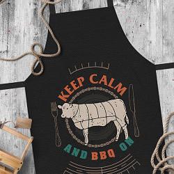 Фартук полноцветный Сolorful Keep calm and BBQ on (чёрный)  | кухонный фартук с принтом для мужчины