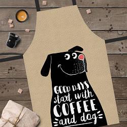 Фартук полноцветный Сolorful Good days start with coffee and dog | универсальный кухонный фартук с принтом