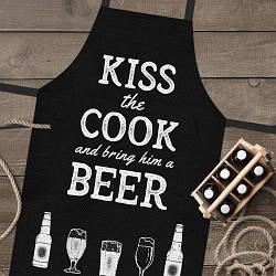 Фартук полноцветный Сolorful Kiss the cook and bring him a beer  | кухонный фартук с принтом для мужчины