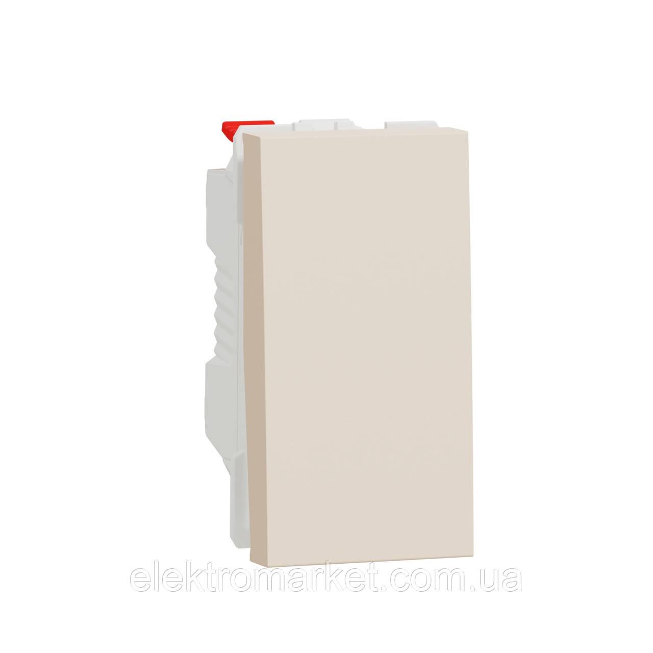 Перемикач 1-клавішний схема 6, 10А, 1 модуль бежевий Unica New