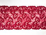 Ажурне мереживо, вишивка на сітці: малинового кольору нитку по сітці малинового відтінку, ширина: 20.5 см, фото 4