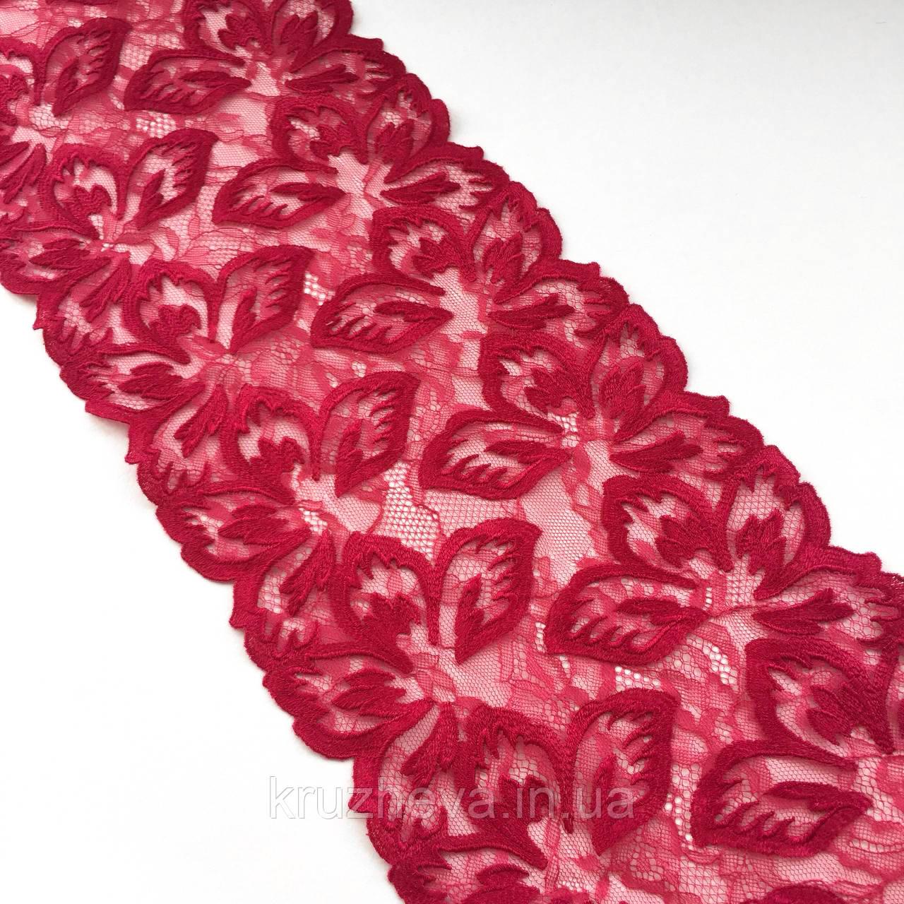 Ажурне мереживо, вишивка на сітці: малинового кольору нитку по сітці малинового відтінку, ширина: 20.5 см