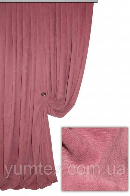 Ткань для штор портьер, римских штор покрывал плотный микровелюр или вельвет Пальмира цвет насищенно-пудровый