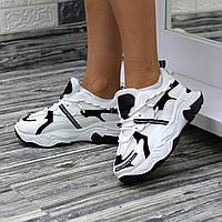Женские трендовые кроссовки на высокой подошве Белый с черными вставками, фото 1