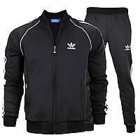 Спортивный костюм весна-осень черный с белым лампасом ADIDAS без капюшона К-303 BLK M(Р) 21-669-008