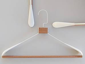 Плечики длина 42,5 см вешалки металл с деревом белого цвета