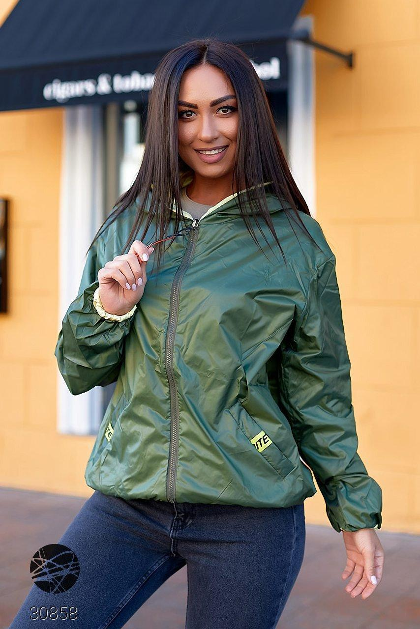 Двостороння куртка на блискавці в стилі колор блок з 48 по 66 розмір