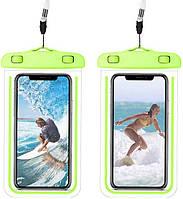 Водонепроницаемый чехол для смартфона Aqualight светящийся зеленый