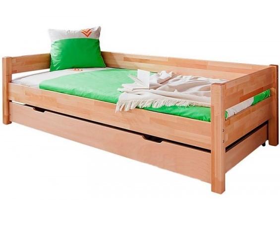 Односпальная кровать B020 90x200 с ящиком деревянная из бука ТМ Mobler