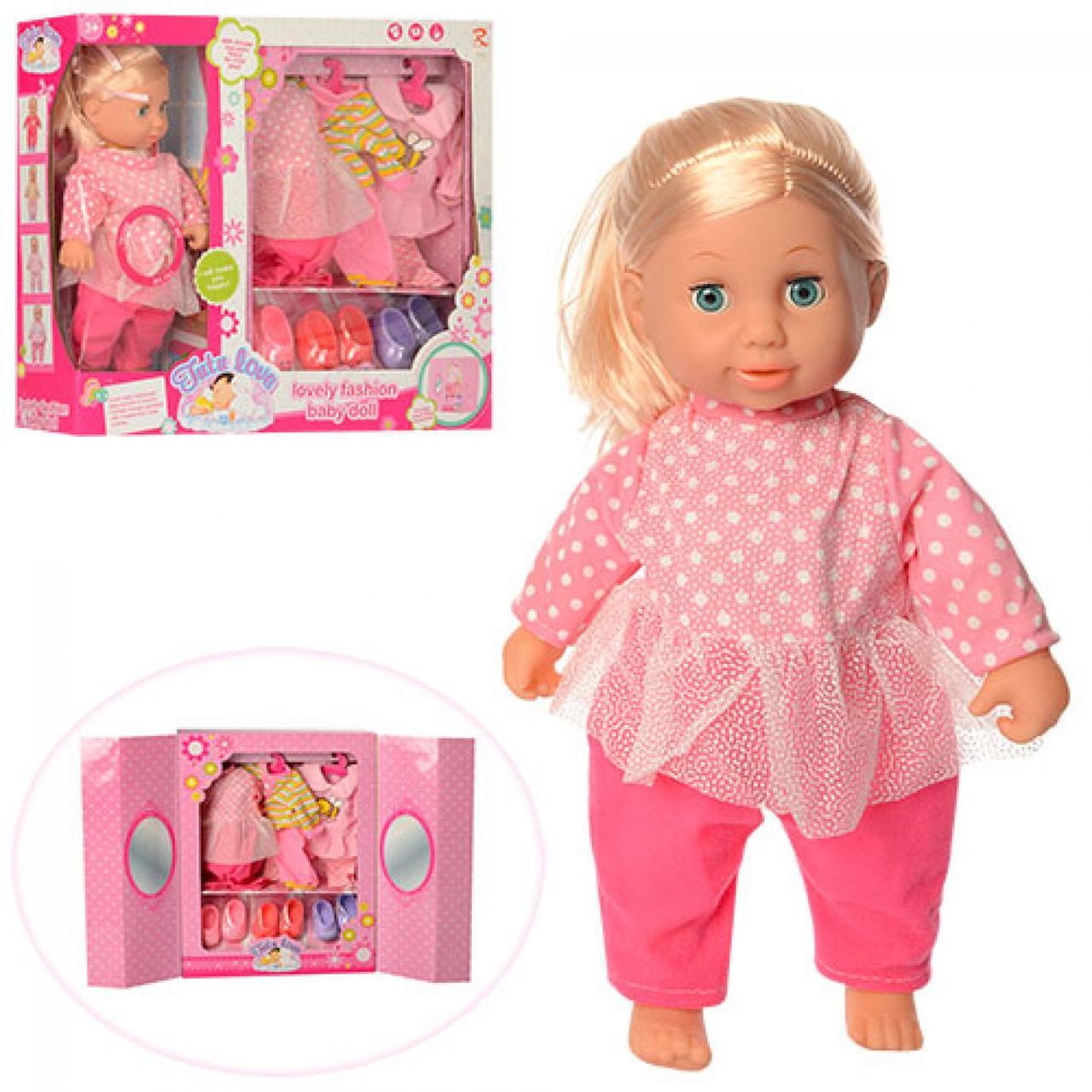 Лялька з нарядом 37см,3 сукні,м'яконабивна,взуття,звук,на бат-ці,в кор-ці,49х40,5х11см №9580(12)