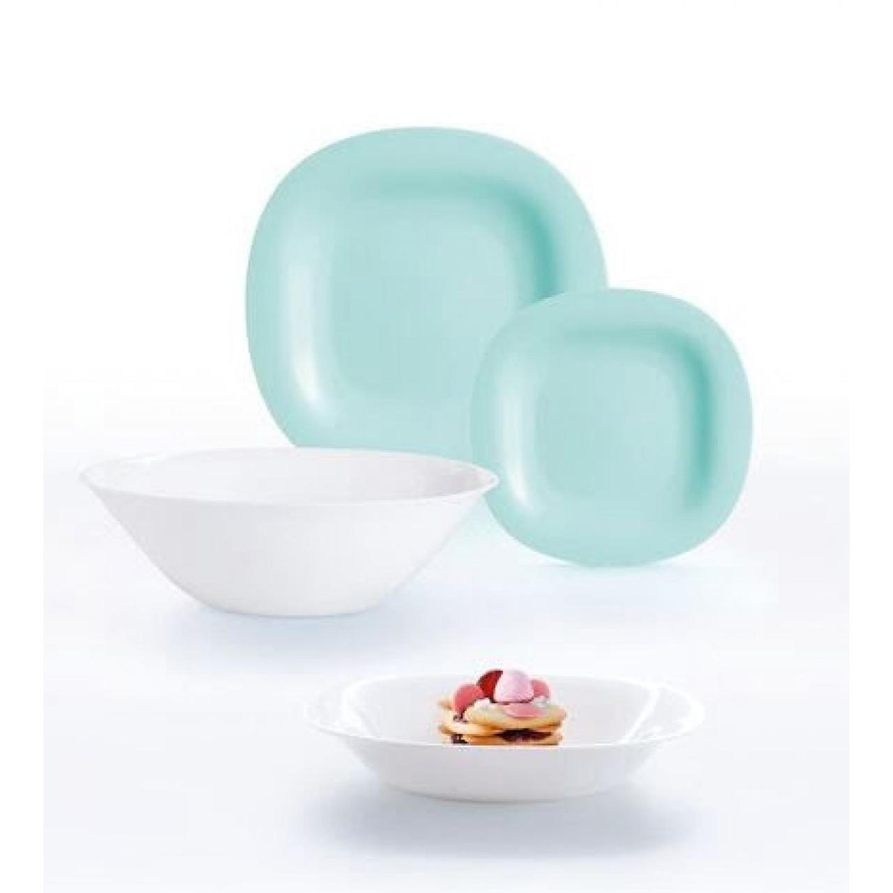 "Сервіз столовий скло 19предм. ""Luminarc.Carine Light Turquoise & White"" №83209/P7627"