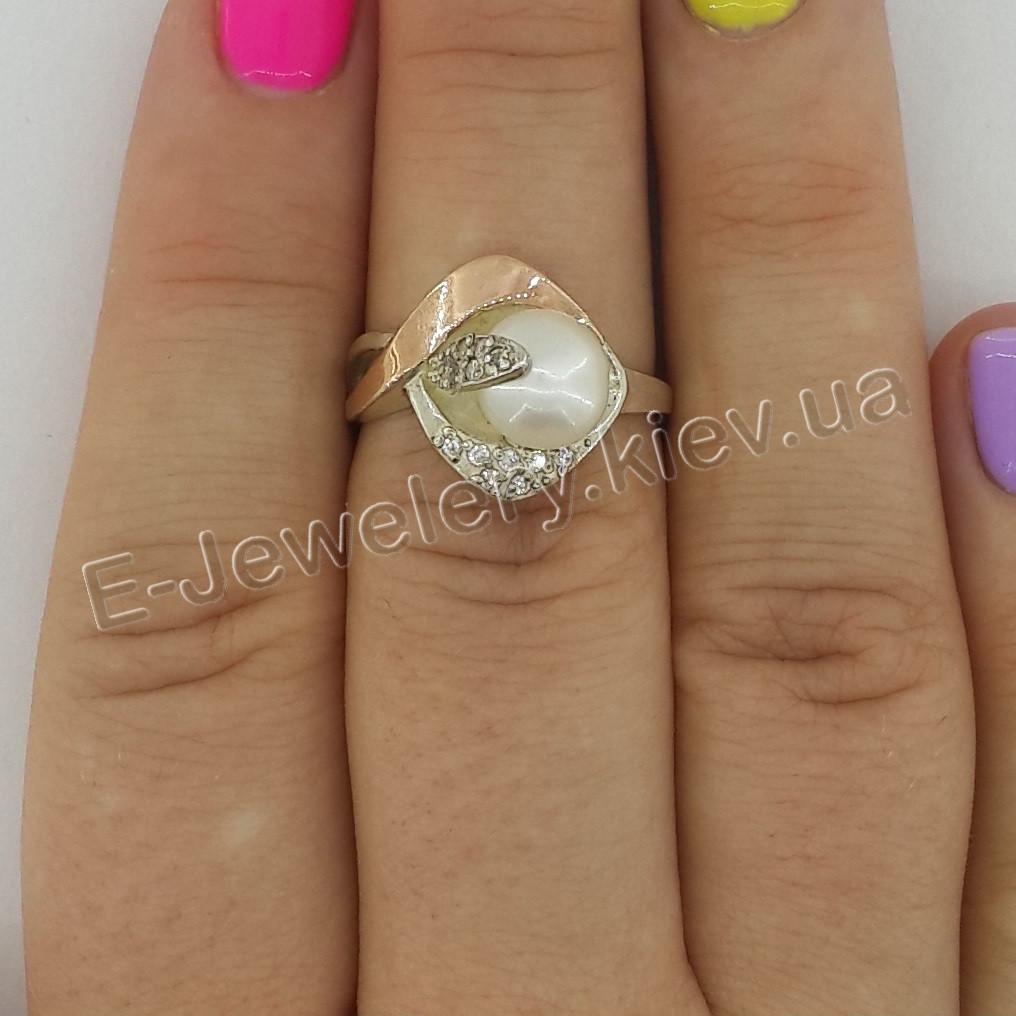 """Серебряное кольцо с золотом и жемчугом """"Гармония"""""""