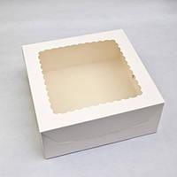 """Коробка для торта """"Белая"""" с окошком 25*25*10 см"""