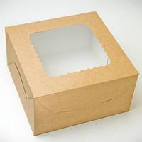 """Коробка для торта """"Крафт"""" с окошком 17*17*9 см"""