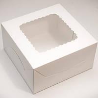 """Коробка для торта """"Белая"""" с окошком 17*17*9 см"""