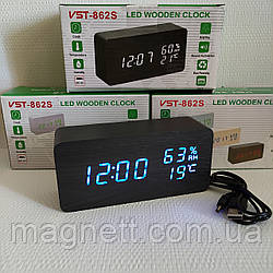 Електронні годинник VST-862S в дерев'яному корпусі з температурою і датчиком вологості