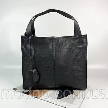 Женская итальянская кожаная сумка шоппер на плечо Vera Pelle черная