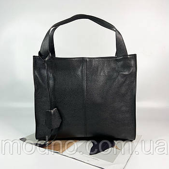 Жіноча італійська шкіряна сумка шоппер на плече Vera Pelle чорна