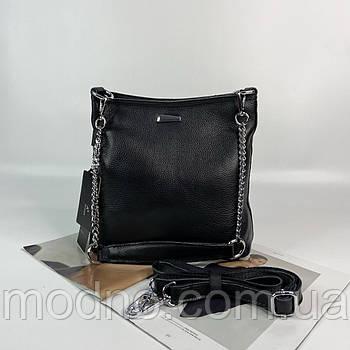 Женская кожаная сумка на и через плечо чёрная Farfalla Rosso