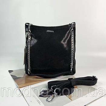 Женская кожаная сумка в лазерной обработке Farfalla Rosso черная